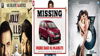 First day Box Office Collection Report for 'Jolly L.L.B.', 'Mere Dad Ki Maruti' and '3G'