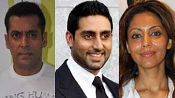 Salman Khan Seen Getting Friendly With Abhishek Bachchan and Gauri Khan.