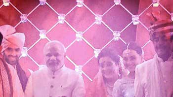 Prime Minister Narendra Modi graces the wedding ceremony of Actress Sonakshi Sinha's Brother