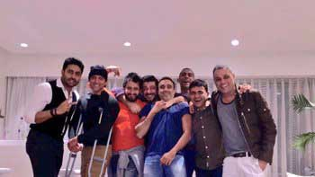 Hrithik Roshan celebrating on crutches by having gala time with his pals