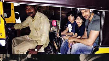 Hrithik Roshan's auto-rickshaw ride with his sons