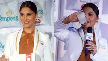 Lara Dutta takes diaper test while launching Pamper care brand