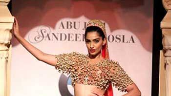 Sonam Kapoor as showstopper for Abu Jani-Sandeep Khosla at BMW India Bridal Fashion Week