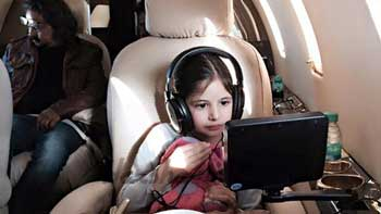 Child artist Harshaali Malhotra watches 'Kick' on chartered plane