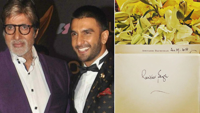 Ranveer Singh receives handwritten note from Big B after impressing the thespian with his splendid performance in 'Padmaavat'!
