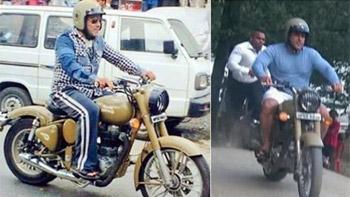 Salman Khan rides Royal Enfield while shooting for Tubelight in Manali
