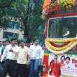 Abhishek Bachchan and Aditya Thackeray at the flag off ceremony of BEST's new special buses
