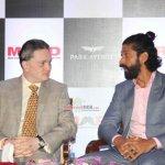 Farhan Akhtar and Gautam Singhania, CMD, Raymond Group at the launch of Park avenue deodorants