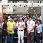 Dino Morea & Jacqueline Fernandez with Yuva Sena President Aditya Thackeray at the Launch of Dino's Fitness Open Gymnasium