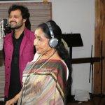 Asha Bhosle along with Music Director Mudasir Ali Snapped at Song Recording