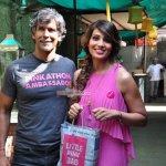 Bipasha Basu with Pinkathon Founder Milind Soman at Mumbai SBI Pinkathon press announcement